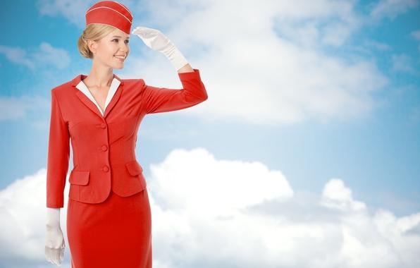 Картинка небо, облака, улыбка, фон, голубое, юбка, прическа, блондинка, перчатки, пиджак, в красном, жест, униформа, пилотка, …