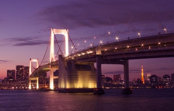 Картинка небо, облака, ночь, мост, огни, здания, дома, Япония, освещение, Токио, фонари, залив, Tokyo, Japan, мегаполис, …