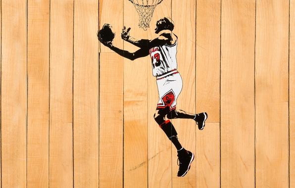 Картинка Белый, Мяч, Баскетбол, Доски, Кольцо, Michael Jordan, NBA, Майкл Джордан, Chicago Bulls