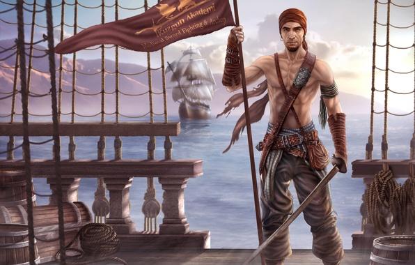 Картинка море, оружие, корабль, парусник, арт, пират, знамя, сабля