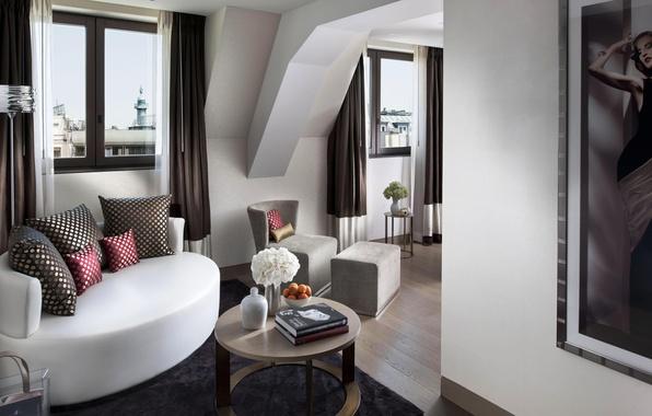 Картинка белый, цветы, дизайн, стиль, комната, диван, книги, окна, интерьер, картина, кресло, подушки, коричневый, столик, гостиная