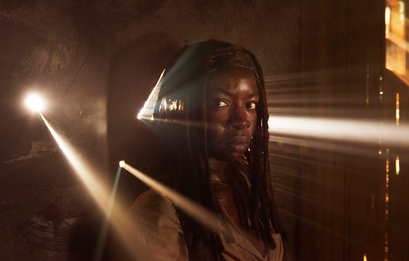 Фото обои Danai Gurira, промо, The Walking Dead, пятый сезон, Michonne
