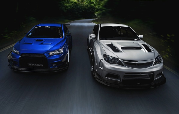 Картинка Subaru, Impreza, Mitsubishi, Lancer, Evolution, road, blue, front, silvery, race car, обвес, STi