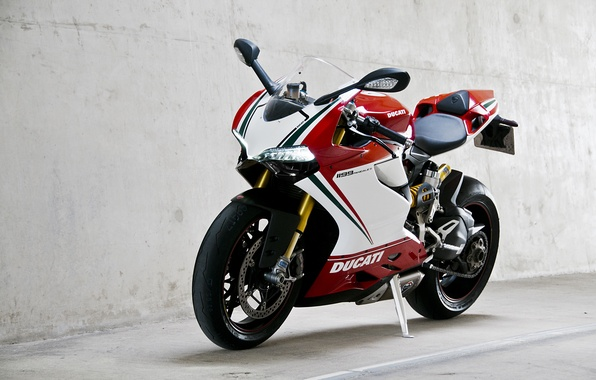 Картинка белый, стена, мотоцикл, wall, white, bike, ducati, дукати, supersport, 1199