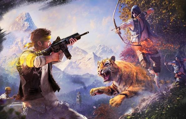 Картинка Небо, Облака, Горы, Тигр, Деревья, Снег, Лук, Оружие, Краски, Tiger, Ubisoft, Стрела, Far Cry 4, …