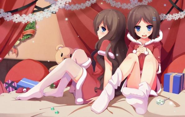 Картинка девочки, игрушки, новый год, арт, конфеты, сладкое, костюмы, nerv110
