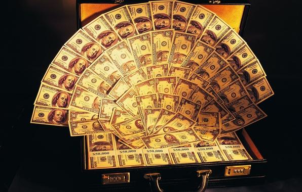 Картинка деньги, веер, чемодан, доллары