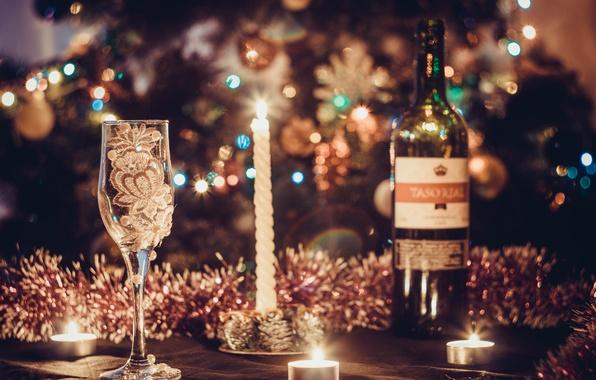 Картинка украшения, вино, шары, елка, Новый Год, бокалы, Рождество, golden, Christmas, balls, New Year, sheep, decoration, …