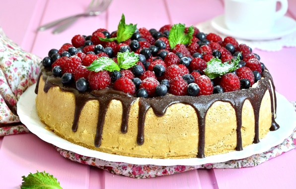 Картинка ягоды, малина, шоколад, черника, мята, кекс