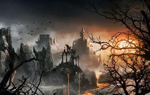 Картинка солнце, деревья, пейзаж, закат, птицы, замок, скалы, арт, сухие, лава, руины, Admira Wijaya