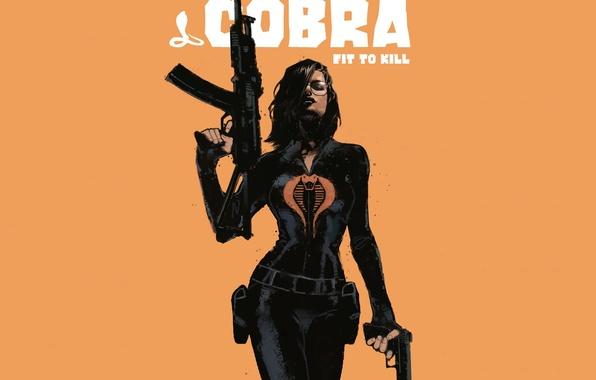 Картинка взгляд, девушка, оружие, фон, костюм, Cobra, фильм. арт