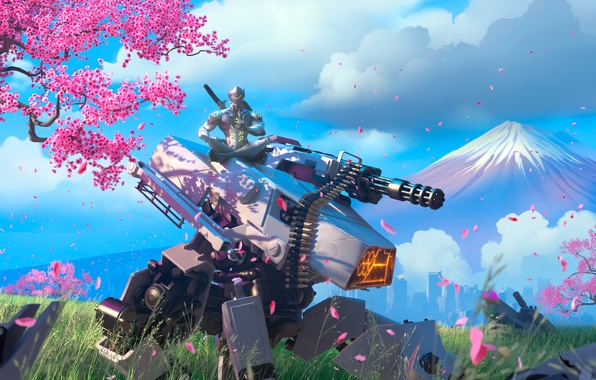 Картинка дерево, робот, гора, меч, катана, сакура, воин, маска, танк, броня, ninja, Overwatch, Genji Shimada, genji