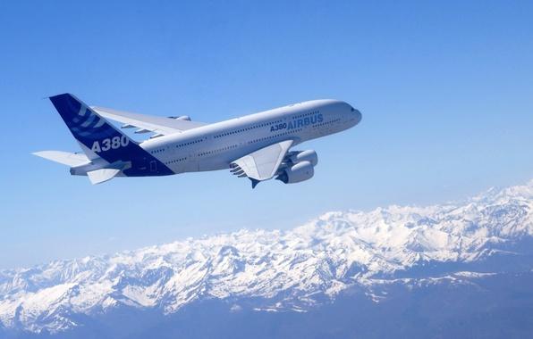 Картинка небо, авиация, самолет, Airbus A380