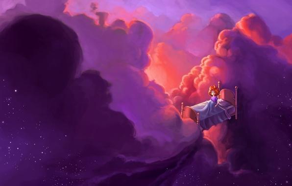 Картинка девушка, облака, фантазия, звёзды, арт, полёт, рыжеволосая