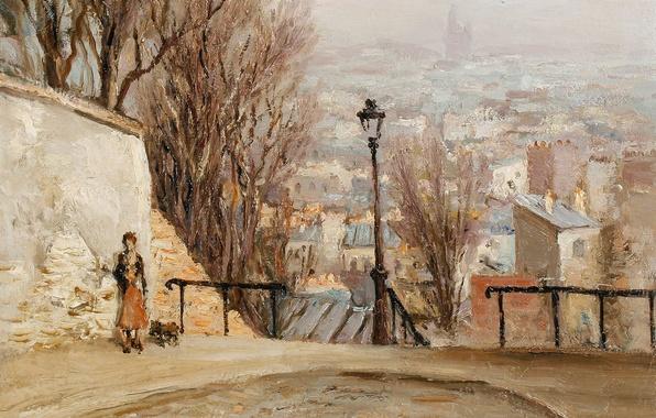 Картинка улица, дома, картина, холм, панорама, фонарь, городской пейзаж, Марсель Диф, Над городом