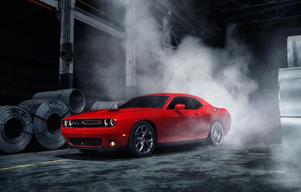 Картинка Muscle, Dodge, Challenger, Red, Car, Front, Smoke, American, Ligth