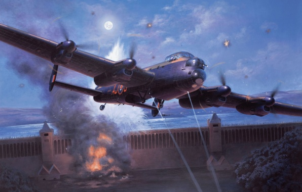 Картинка bomber, war, art, painting, aviation, drawing, ww2, Avro Lancaster, british airplane, dambusters