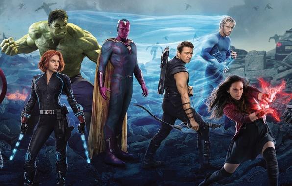 Картинка Scarlett Johansson, Vision, Heroes, Hulk, the, Iron Man, Captain America, Super, Thor, Black Widow, Robert …