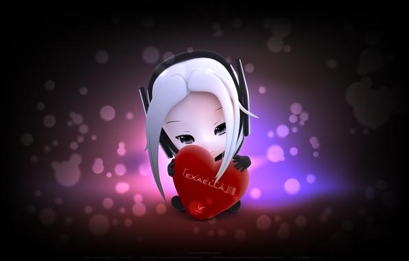 Картинка сердце, аниме, валентинка, заставка, няшка, Эксэлла, Exaella