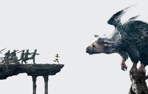 Картинка крылья, мальчик, перья, бег, солдаты, когти, рога, зверь, Sony, копья, PS4, The Last Guardian, genDESIGN, …