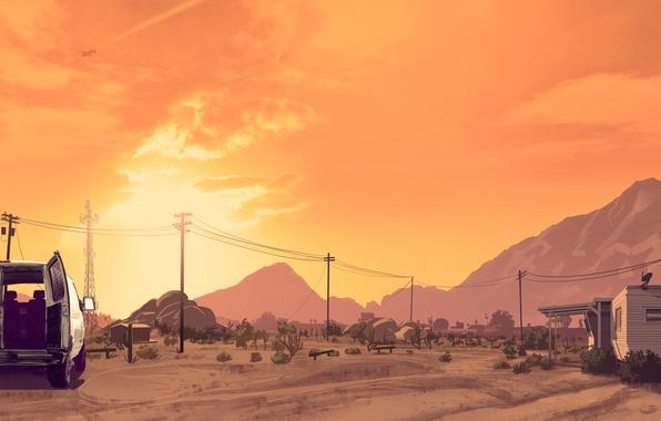 Картинка небо, облака, закат, горы, самолет, пустыня, антенна, арт, фургон, домик, art, GTA, лэп, grand theft …