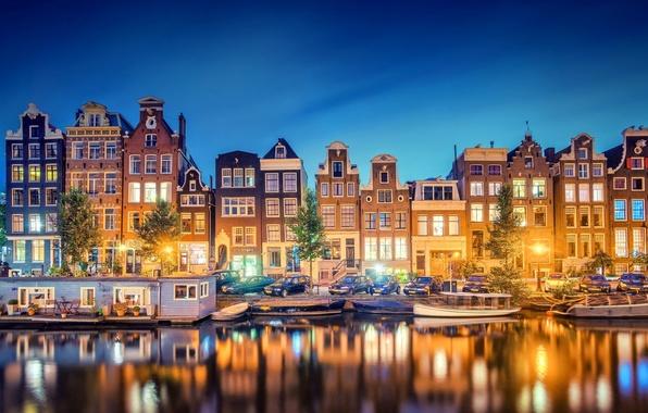 Картинка свет, город, огни, отражение, река, здания, дома, лодки, вечер, Амстердам, канал, Нидерланды, Amsterdam, Голландия, Nederland, …