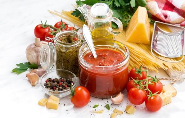 Картинка масло, сыр, перец, помидоры, спагетти, соус, петрушка, специи, чеснок, паста