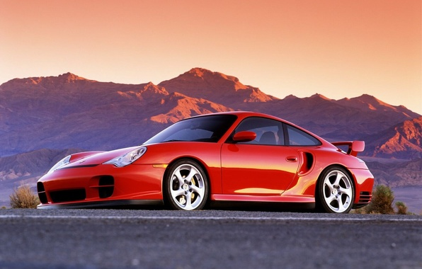 Картинка авто, горы, Красный
