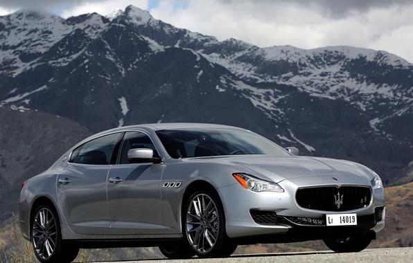 Картинка машина, небо, горы, Maserati, Quattroporte S, передок