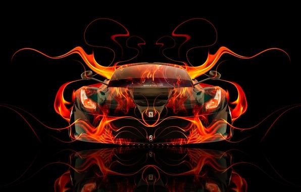 Обои Авто Черный Огонь Машина Оранжевая Феррари
