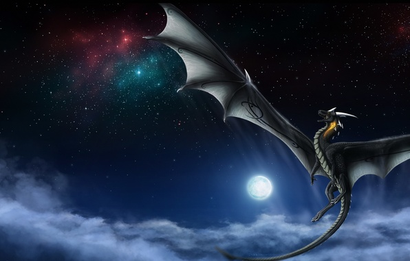 Картинка небо, звезды, облака, полет, ночь, фантастика, луна, дракон, крылья, хвост