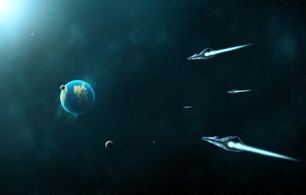 Картинка корабль, планета, Земля