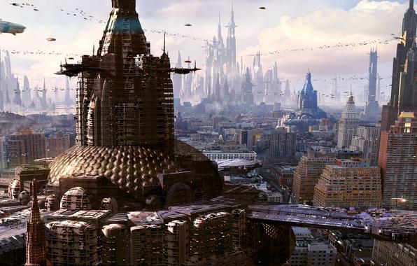 Картинка город, будущее, небоскребы, мегаполис, рендер