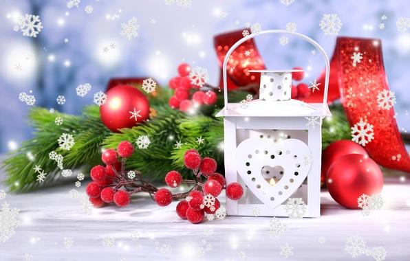 Картинка зима, белый, шарики, снежинки, ветки, игрушки, ель, Новый Год, Рождество, фонарик, фонарь, красные, декорации, Christmas, …
