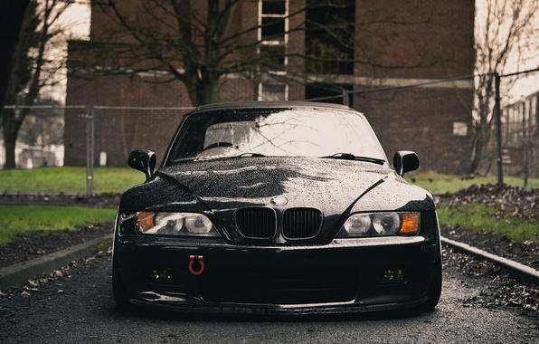 Картинка мокрый, черный, BMW, спереди, передок