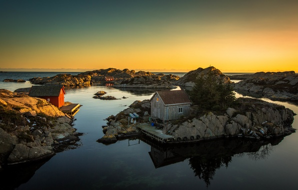Картинка море, закат, скалы, дома, пирс, шины, sea, sunset, rocks, houses, pier, tires