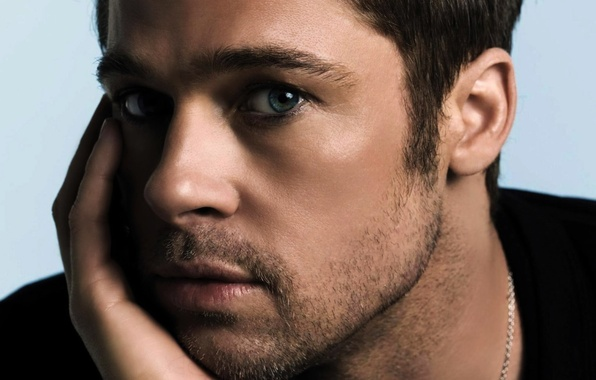 Картинка глаза, взгляд, актер, мужчина, Брэд Питт, Brad Pitt, серые, actor, grey, eyes, man