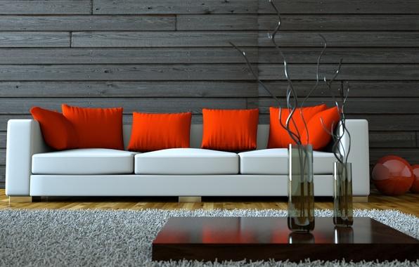 Картинка Интерьер, вазы, vase, стильная, stylish, Interior, белый диван, home design, дизайн дома, красные подушки, white …