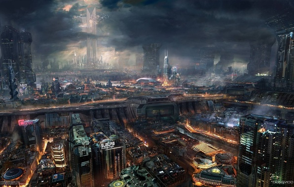 Картинка ночь, город, будущее, фантастика, арт