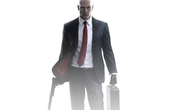 Картинка взгляд, пистолет, оружие, лысый, костюм, галстук, Hitman, пиджак, убийца, Square Enix, глушитель, кейс, Silverballer, IO …