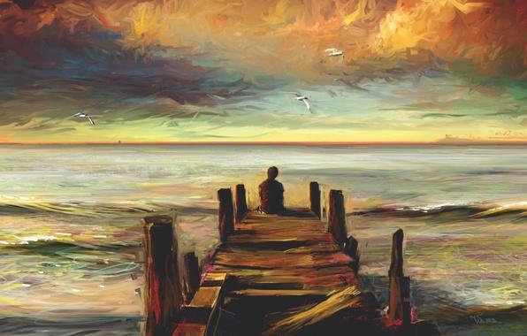 Картинка море, одиночество, пирс