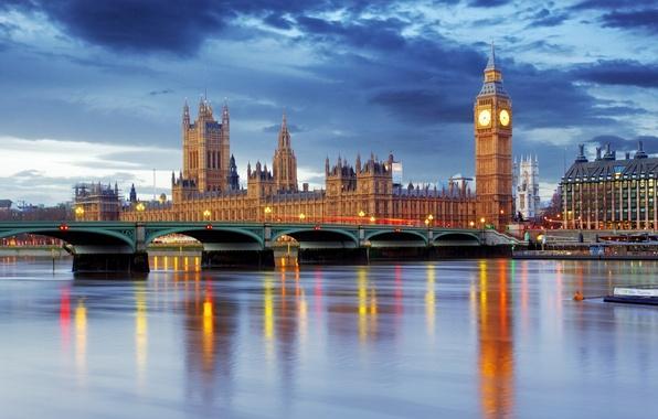Картинка Англия, Лондон, Биг Бен, London, England, Big Ben, Thames River, Westminster Abbey