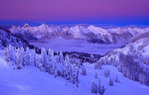 Картинка Clouds, Sky, Purple, Winter, Mountain, Snow, Lanscape