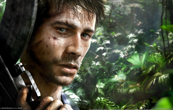 Картинка взгляд, оружие, кровь, остров, джунгли, автомат, щетина, Ubisoft, Far Cry 3, протагонист, Рук Айленд, Джейсон ...