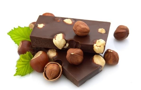 Картинка шоколад, орехи, мята, фундук