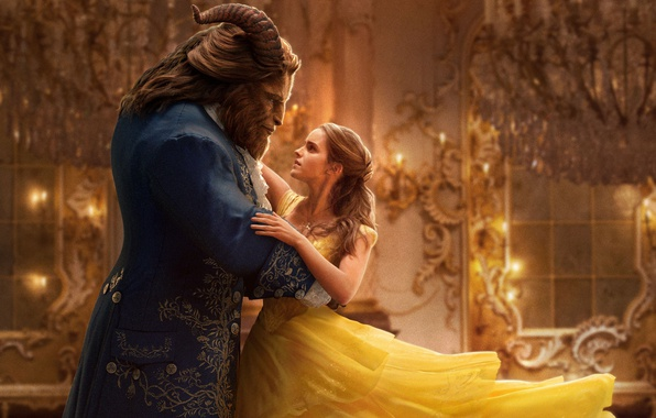 Картинка cinema, girl, windows, golden, love, fantasy, Disney, Emma Watson, gold, magic, horns, monster, dress, woman, …