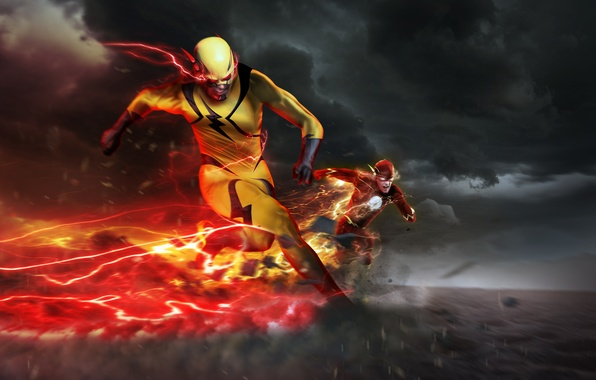 Картинка скорость, погоня, сериал, art, dc comics, Flash, Barry Allen, Reverse-Flash, Eobard Thawne