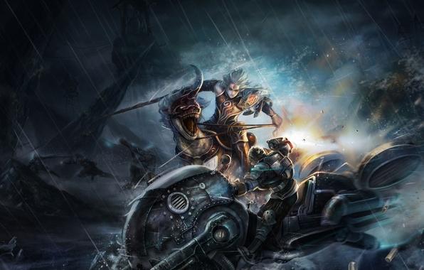 Картинка ночь, оружие, дождь, скалы, транспорт, эльф, арт, ящер, зверь, битва, парни, рог, ARGO