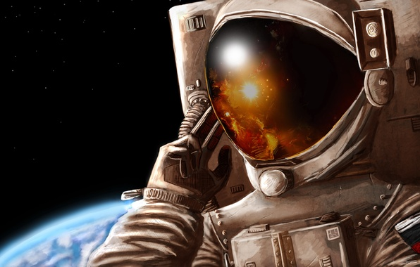 Картинка стекло, космос, звезды, отражение, рисунок, планета, скафандр, арт, шлем, астронавт