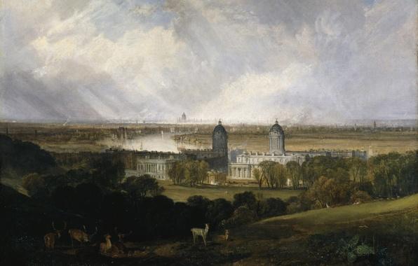 Картинка животные, деревья, пейзаж, парк, замок, картина, Уильям Тёрнер, London from Greenwich Park